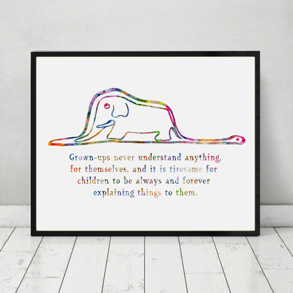 prince posters promotion shop for promotional prince posters on the little prince boa and elephant quote watercolor art print poster wall decor art home decor inspiration poster ap077