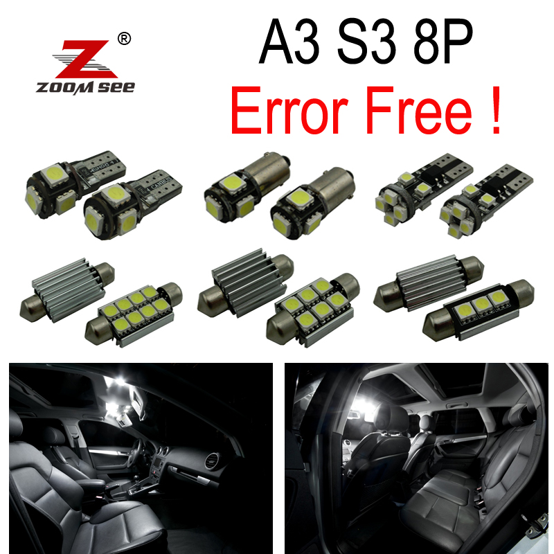 16pc X canbus Error Free LED Bulb Interior Light Kit Package for Audi A3 S3 8P (2006-2013) 18pc canbus error free reading led bulb interior dome light kit package for audi a7 s7 rs7 sportback 2012