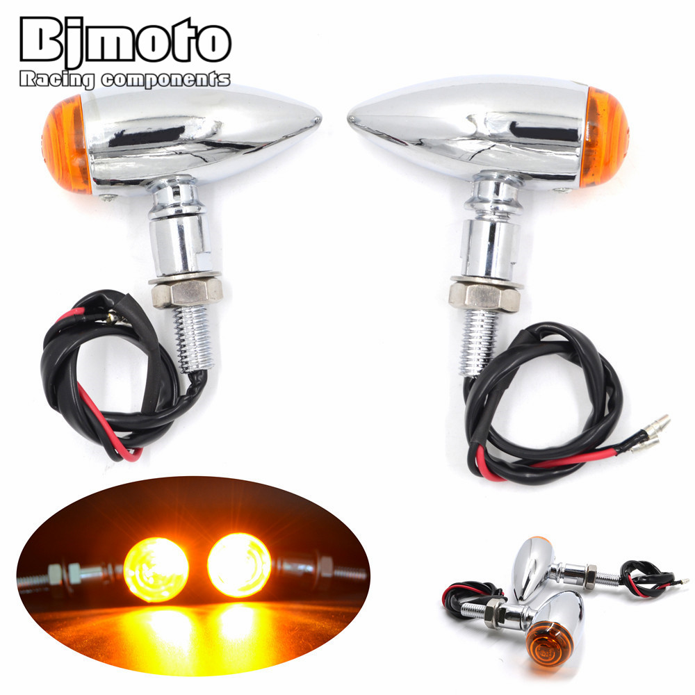 BJMOTO Chrome Plated Bullet Metal Motorcycle Turn Signal Indicator Flasher For Harley Bobber Chopper Mini Sportster Pilot Lamp