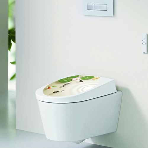 Zs Sticker Hot Sales Toilet decoration Toilet cover Decal Waterproof Sticker Lotus goldfish