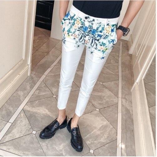 2019 Spring New Floral Print Pant Dress Floral Print Men Trousers Slim Fit Business Casual Moda Masculina 2018 Erkek Pantolon