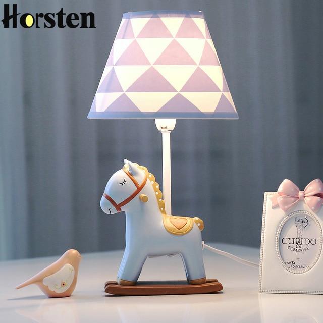 Creativo lindo LED lámpara de mesa decoración del hogar atenuación Pony mesa de escritorio luz dormitorio lámpara de cabecera para bebé niños habitación cumpleaños regalo