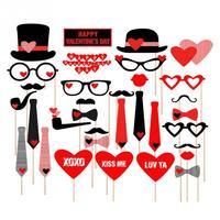 DIY 32PCS Set Funny Masks Heart Mustache Photo Booth Props Mustache Wedding Birthday Party Decor