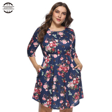 2019 New Spring Big Size Women Dresses Elegant O Neck Floral Print Dress Casual Three Quarter Sleeve Pockets 4XL Plus Size Dress