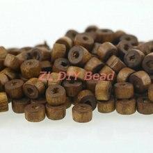 500 unids/lote Marrón plana circular 6x4mm granos del espaciador del encanto pulsera de cuentas de madera collar de la joyería que hace