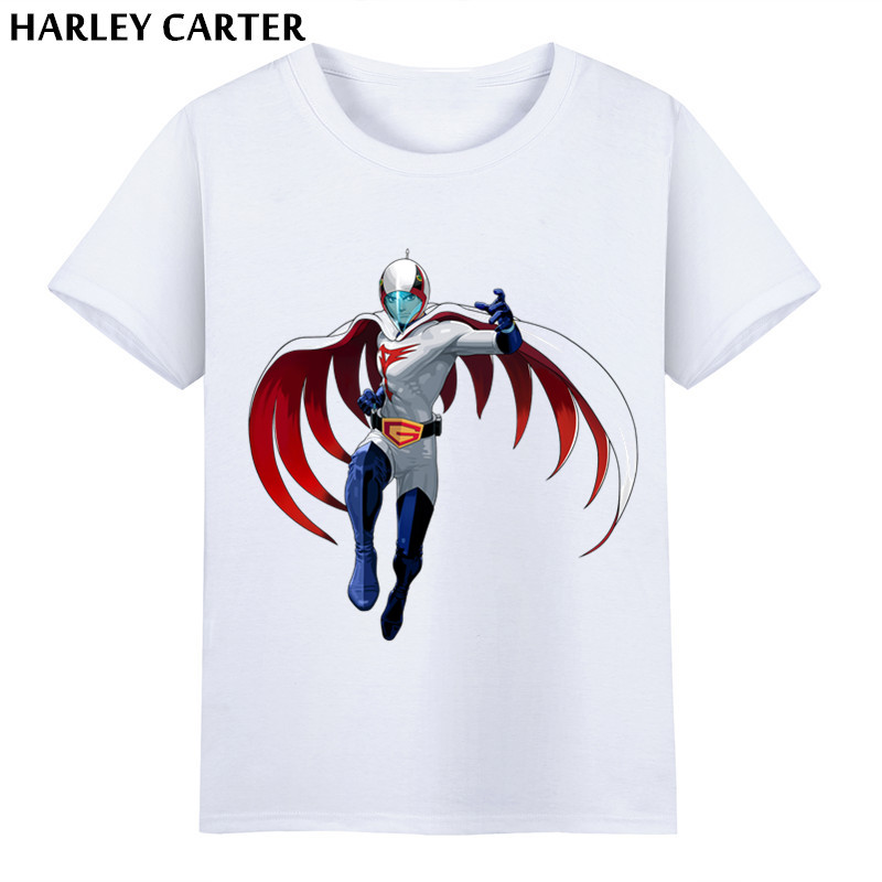 Harley Carter,Mens Japan Anime Gatchaman Printing T-shirts Summer Male Short Sleeve Funny Tee Shirts Casual Tshirt For Men