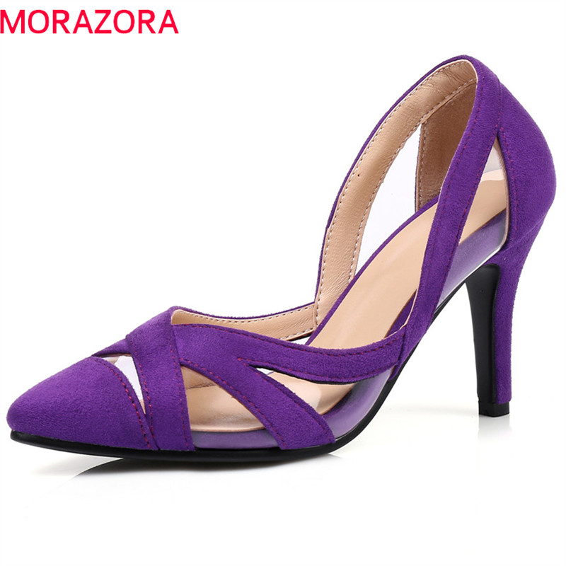 MORAZORA spring summer 2018 women sandals thin heels high heel pointed toe shallow slip on sexy female shoes wedding shoesMORAZORA spring summer 2018 women sandals thin heels high heel pointed toe shallow slip on sexy female shoes wedding shoes