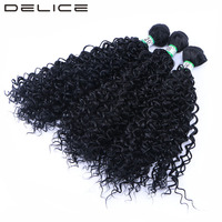 DELICE 16 20inch 3pcs Pack Kinky Curly Hair Weaving Black Color Synthetic Hair Weave Extensions Weft