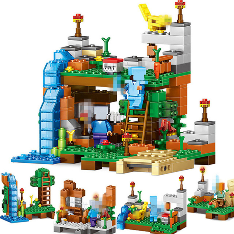 My World Building Brick Educational Toys 4 In 1 City Forest Model Legoings Children's Digital Building Blocks Minecraft Toys