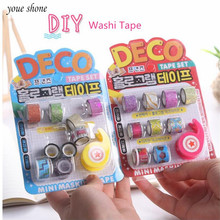 9Pcs=1set Color Hand Tear Washi Tape Adhesive Tape Holder Stationery Whole Roll Cartoon DIY Album Diary Hand Account Decoration цена и фото