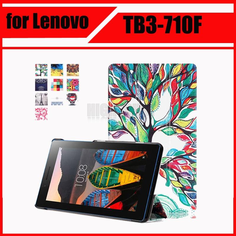 Magnétique Stand pu Étui en cuir pour Lenovo Tab 3 Tab3 7 essentiel 710 710I 710F TB3-710F tablet cas de couverture + Stylet