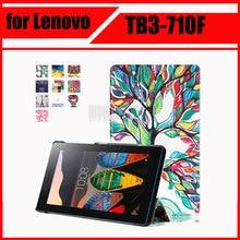 Magnética Soporte de la pu funda de piel para Lenovo Tab 3 Tab3 7 esencial 710 710I 710F TB3-710F casos tableta de la cubierta + Protector de Pantalla