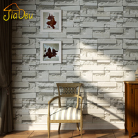 Modern 3D Stone Brick Wall Non Woven Wallpaper Roll Living Room Bedroom Background Wall Decor Art