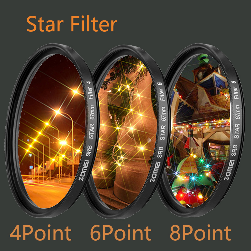 Star Filters Camera Lens Kit 4/6/8 Points Star Filtre 49/52/55/58/62/67/72/77mm For Canon Nikon Sony Camera Accessories Filtro