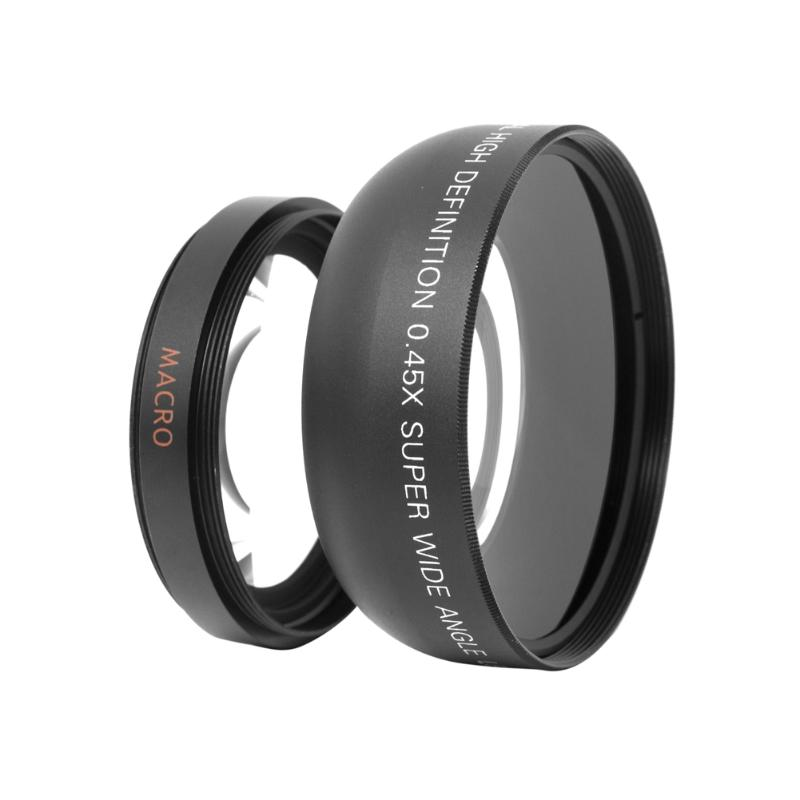 55mm 0.45X Universal Digital Wide Angle Camera Lens Macro Conversion Lens with 2 Lens Caps For Canon DSLR DC Camera