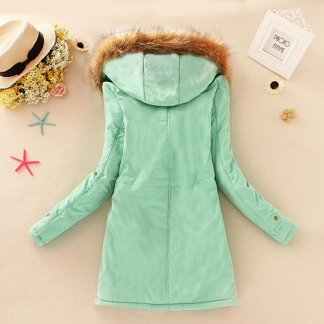 HTB1r5LLXkC4K1Rjt j7q6ykEXXa8 2019 Winter New Women's Hooded Fur Collar Waist And Velvet Thick Warm Long Cotton Coat Jacket Coat