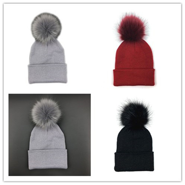 720fddffbe6 Toddler Kids Baby Warm Winter Wool Knit Beanie Fur Pom Pom Bobble Hat Cap  Winter Warm Hat Winter Caps Xmas Gift Newborn Photo