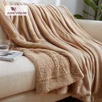 Slowdream Blanket Winter Elegant Flannel Comforter Throw Coral Fleece Wool Blanket Bedspread Sofa Bed Home Cover Blanket Quilts