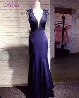 Melice Sexy Sâu V-Neck Royal Blue Mermaid Evening Dress 2017 Graceful Appliques Dài Trang Phục Chính Thức Đảng Gown Robe De Soiree Hot bán