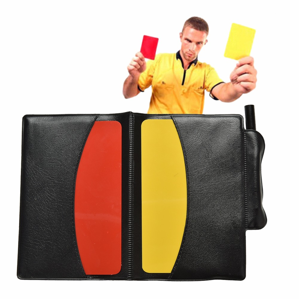 Soccer Referee Sheet Set Red Yellow Card Pencil Sports PU Notebook  Sport Match  Free Shipping