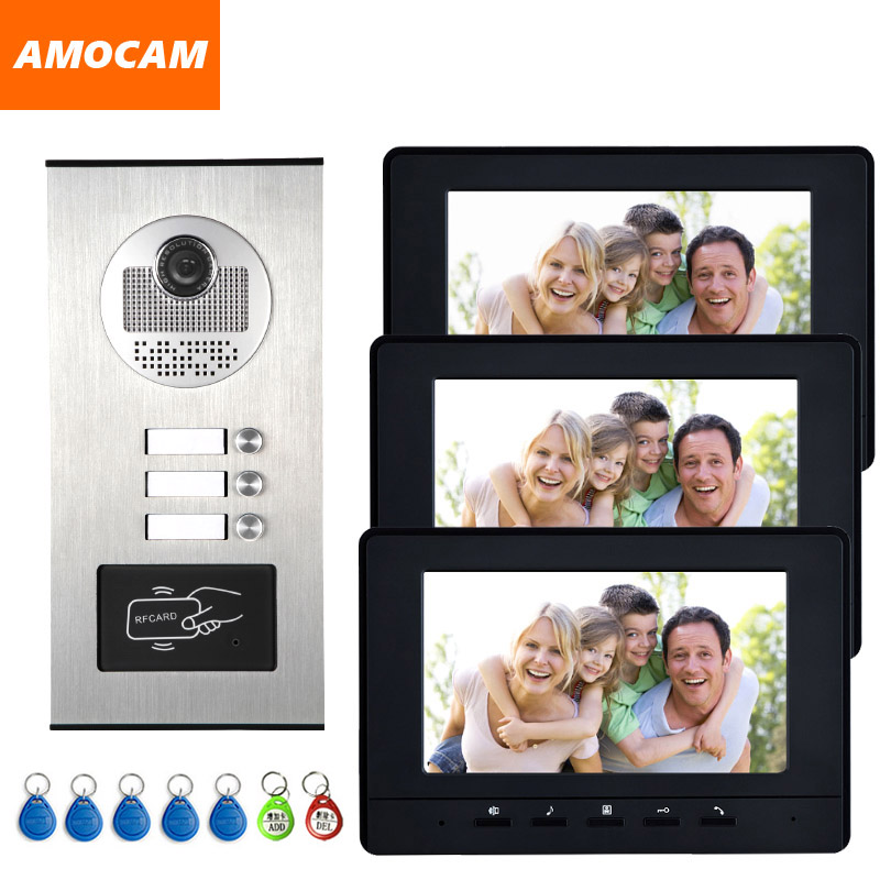 7'' Color Video Intercom RFID Camera Video Doorbell With 2 / 3 / 4 Monitors Video Door Phone 500 User For Multi Apartments