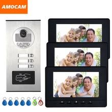 7 Color Video Intercom RFID Camera Video Doorbell with 2 / 3 / 4 Monitors Video Door Phone 500 user for multi Apartments