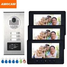 Visiophone couleur 7 pouces avec caméra RFID, sonnette avec 2 / 3 / 4 moniteurs, 500 utilisateurs pour plusieurs appartements