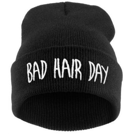 Hot sale New Fashion winter casual women hat bad hair days Knitted Soft Elastic   skullies     beanie   hats for women men free Shipping