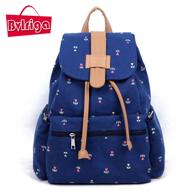 BVLRIGA Flores impressão mochila de lona mochila de estudante bolsas de marcas famosas mulheres sacos de escola para adolescentes mochila laptop feminino