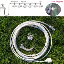 White Outdoor Misting Cooling System Kit for Garden Patio Watering Irrigation Fog spray Lines 6 M-18 M