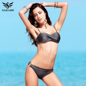 NAKIAEOI 2018 Sexy Bikinis Women Swimsuit Push Up Swimwear Halter Solid Brazilian Bikini Set Beachwear Bathing Suits Swim Wear 1