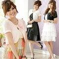 F ~ 3XL Marca Plus Size Verão Elegantes Senhoras Pérola 3D Flor rebite de Manga Curta Tops Bolero Xale Grande Outerwear Jaqueta Feminina casaco