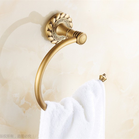 High Quality Bathroom Accessories, Classic Antique Brass Finish Towel Ring Holder&Towel Bar/ Creative Carving Flower Design apl 6411 12 bathroom classic brass paper holder towel ring with lotus carving base bronze
