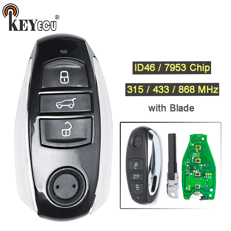 KEYECU 315/ 433/ 868MHz ID46/ 7953 Chip 3 Button Replacement Smart Card Remote Key Fob for Volkswagen T*ouareg 2010-2014