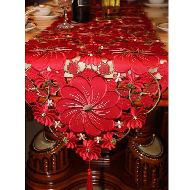 european style luxury embroidered crochet red table runner for