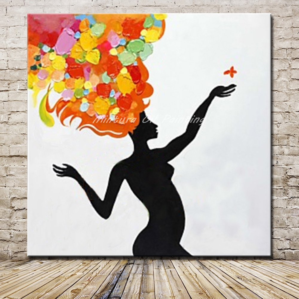 Mintura Handpainted Naked Girls Play Butterfly Oil Painting On Canvas Modern Abstract -4936