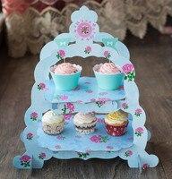 Miễn phí vận chuyển hai lớp màu xanh hoa trang trí bánh cupcake đứng wedding birthday party tráng miệng giấy đứng tấm trang trí