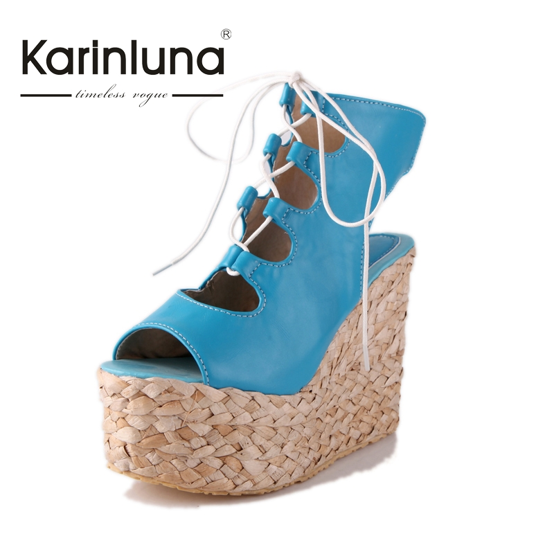 ФОТО KARINLUNA New Big Size 34-43 Wedges High Heels Thick Platform Summer Shoes Women Rome Style Lace Up Party Sandals Woman
