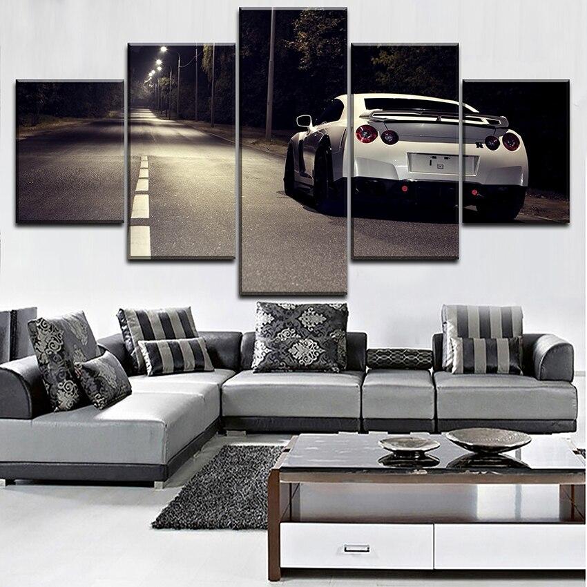 Moderne Mur de Toile Art Décoratif À La Maison Pour Le Salon HD imprimé Modulaire Type Affiche 5 Pièces Nissa Skyline Gtr Voiture peinture