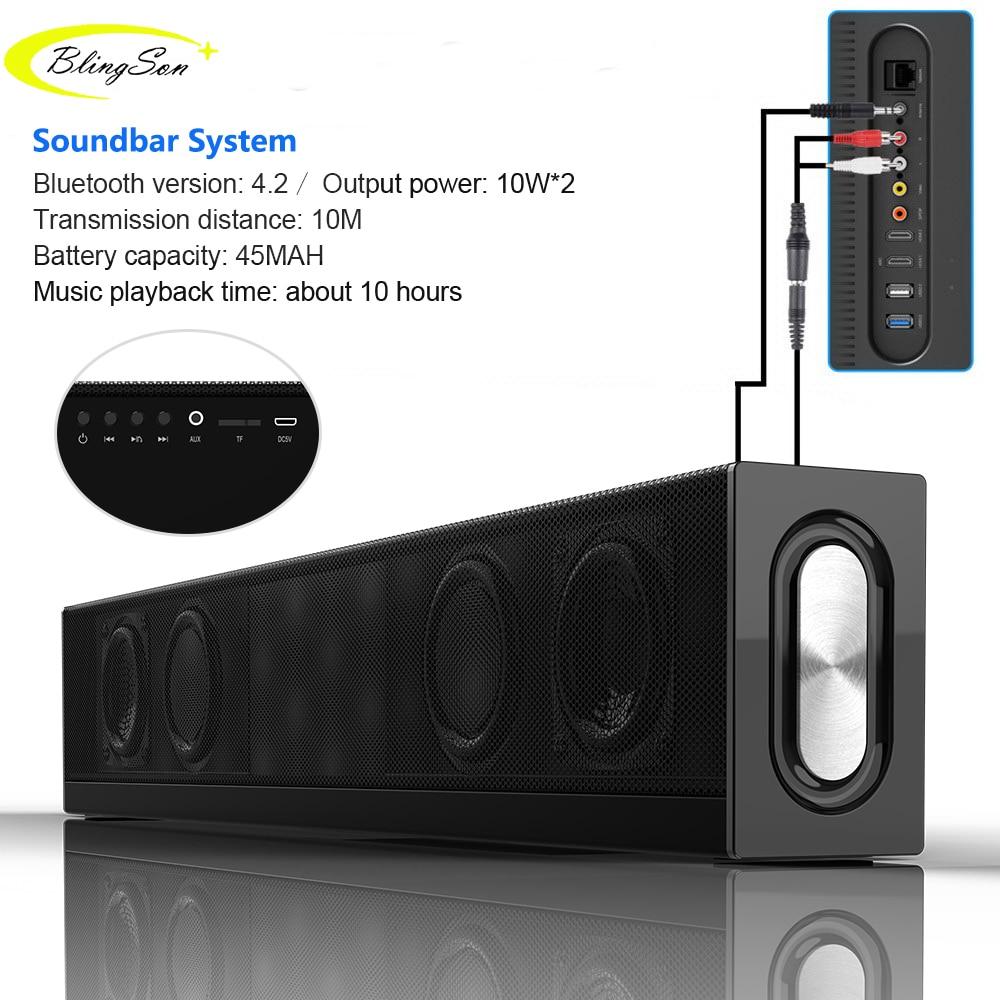 20 W Bluetooth haut-parleur Home cinéma barre de son Super basse Portable sans fil haut-parleur Subwoofer micro FM Radio pour téléphone PAD PC TV
