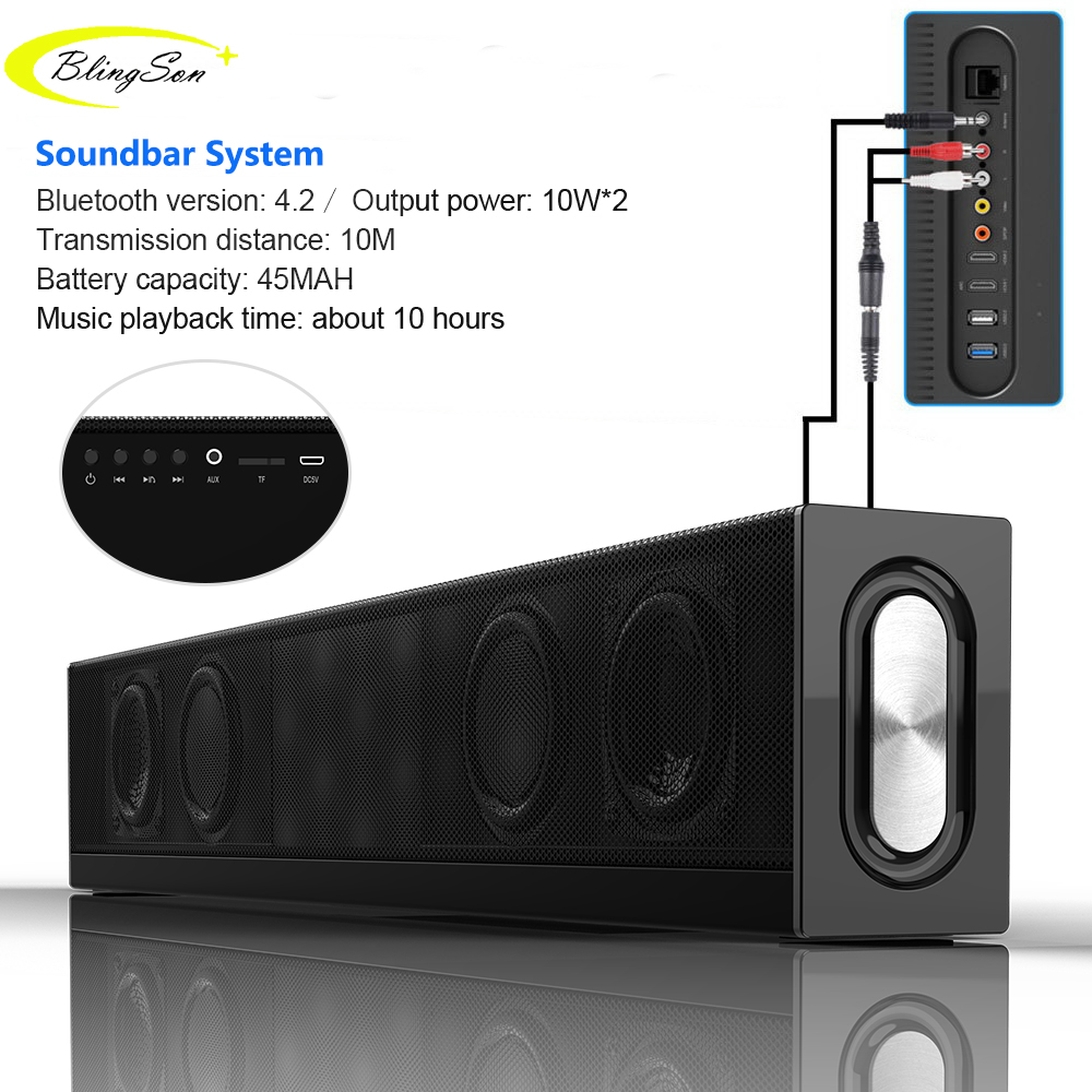 20W Bluetooth Speaker Home Theater Soundbar Super Bass Portable Wireless Speaker Subwoofer Mic FM Radio for Phone PAD PC TV