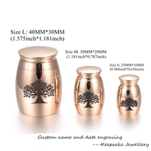 Tree of Life Pattern 316L Stainless Steel Cremation Jewelry Ashes Holder Keepsake Pet Memorial Urn Funeral Casket - Engravable