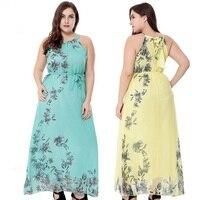 Plus size S-6XL floral print women Bohemian chiffon long dress summer sleeveless womens holiday beach dress pink/green/yellow