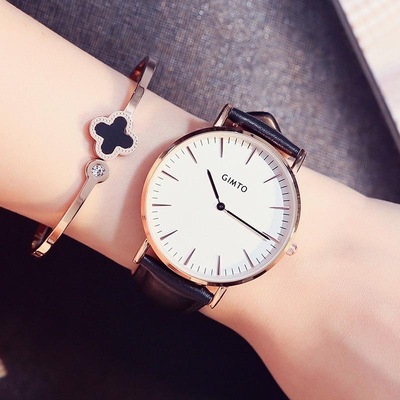 2017 Luxury Brand GIMTO Sport Watches Women Leather Ultra Slim Gold Quartz-watch Male Female Clock Relogio Feminino Montre Gift аппарат для ухода за кожей bradex ажур