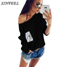 SINFEEL Women Knitted Sweater And Pullovers Sexy Off Shoulder Full Sleeve Ladies Sweaters Female Winter Autumn Plus Size 2XL