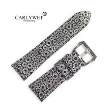 CARLYWET 26mm Leather Pattern Handmade Thick Wrist Watch Band Strap Belt With Laser Pre-V Screw Buckle For Panerai Invicta все цены