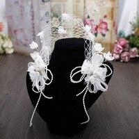 Metting Jouraผู้หญิงสาวแต่งงานสีขาวลูกไม้ดอกไม้คาดศีรษะลูกปัดดอกไม้