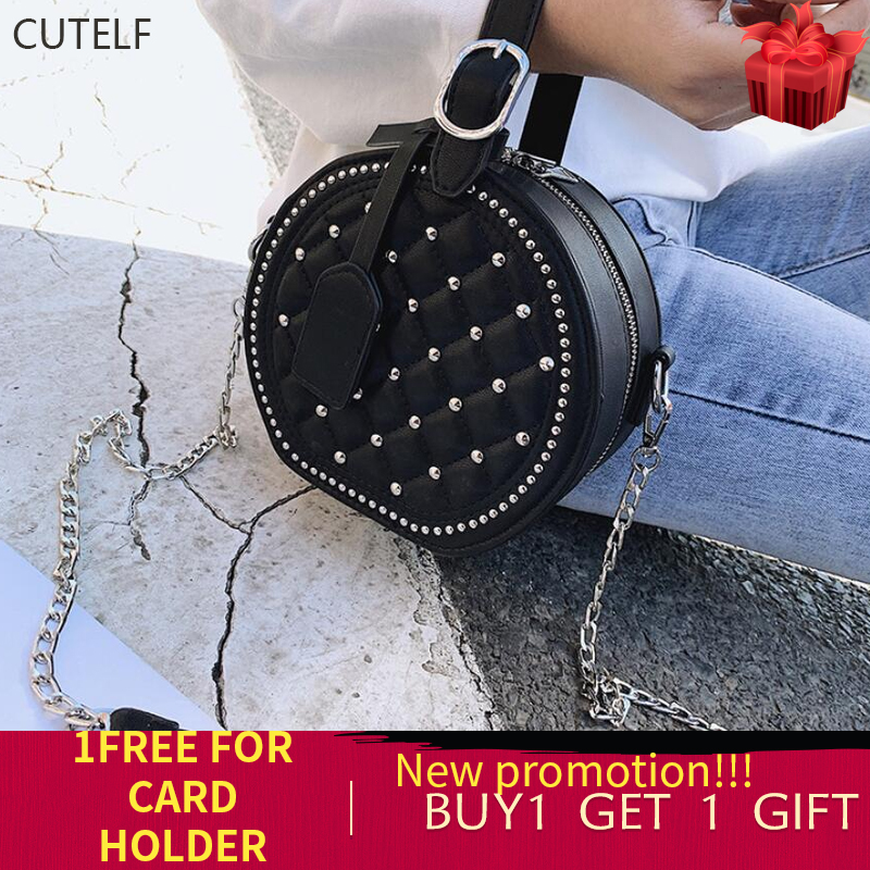 Woman Bolsos Round Clutch Shoulder Bag Ladies Hand Bags Luxury Rivets Leather Bags Women Sac Bolsas De Mujer Pink Chain Handbag