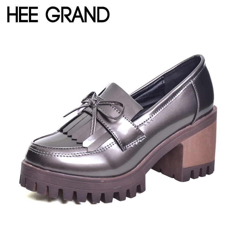 HEE GRAND Tassel Oxfords 2017 Bling Platform Shoes Woman Loafers Casual Creepers Slip On High Heels Silver Women Shoes XWD6047 2017 shoes women med heels tassel slip on women pumps solid round toe high quality loafers preppy style lady casual shoes 17