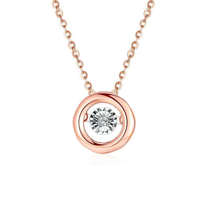 QYI collier diamant forme ronde 18 k or pur pendentif or Rose AU750 deux couleurs au choix de beaux bijoux pour cadeau filleQYI collier diamant forme ronde 18 k or pur pendentif or Rose AU750 deux couleurs au choix de beaux bijoux pour cadeau fille